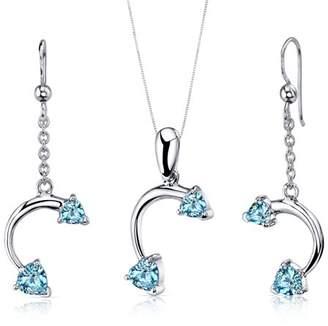 Oravo 2.25 ct Heart Cut Swiss Blue Topaz Earring Pendant Set in Sterling Silver