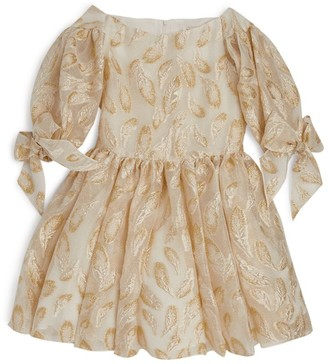David Charles Puff Sleeve Leaf Dress (6-16 Years)