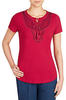 Allison Daley Embroidered Notch Neck Short Sleeve Knit Top