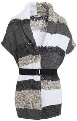 Brunello Cucinelli Belted Embellished Striped Cotton-blend Cardigan