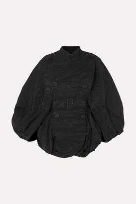 Simone Rocha Cape-effect Crinkled-taffeta Coat - Black