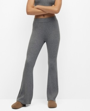 MANGO Women's Ribbed Flared Trousers