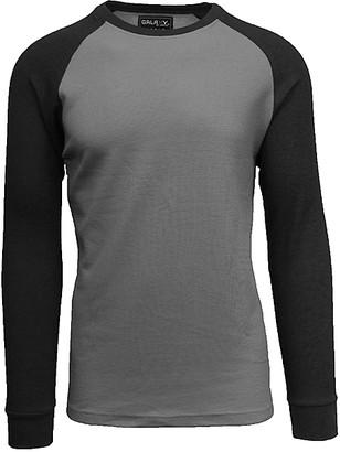 Galaxy By Harvic Galaxy by Harvic Men's Tee Shirts Charcoal/Black - Charcoal & Black Raglan Thermal Shirt - Men