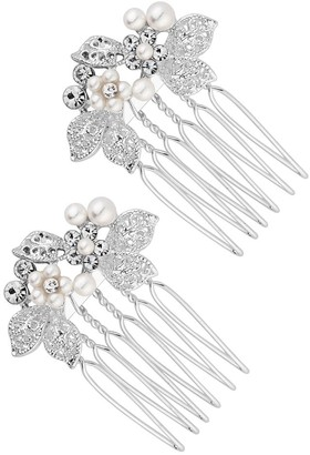 Jon Richard Jewellery Silver, Plated, Clear, Crystal, 2, Pack, Floral, Hair, Comb