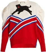 Gucci Panther-appliqué pleated-shoulder wool sweater