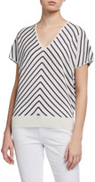 Lafayette 148 New York Diagonal Stripe V-Neck Dolman Sweater