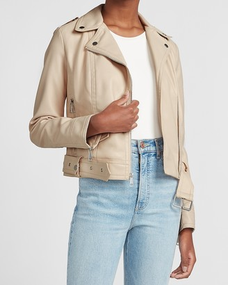 Express Vegan Leather Belted Moto Jacket