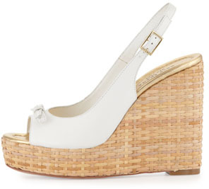 Kate Spade Della Leather Wedge Sandal, White