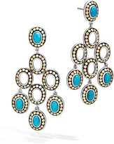 John Hardy Sterling Silver and 18K Bonded Gold Dot Chandelier Earrings with Turquoise