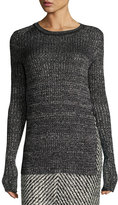 Isabel Marant Marled Knit Crewneck Sweater, Faded Black