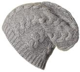 Black Grey Cable Knit Cashmere Slouch Beanie