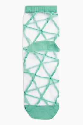 Topshop Womens Green Grid Mesh Socks - Green