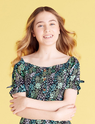 Marks and Spencer Floral Print Shirred Top (6-14 Yrs)