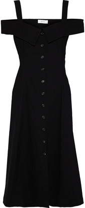 A.L.C. Hudson Cold-shoulder Linen-blend Midi Dress