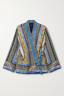 Etro Printed Satin-jacquard Wrap Top - Blue