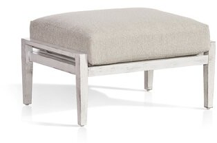 Rosecliff Heights Beardmore Outdoor Ottoman with Sunbrella Cushions Cushion Color: Cast Oasis
