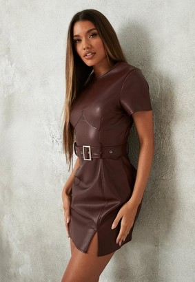 Missguided Chocolate Faux Leather Belted Mini Dress