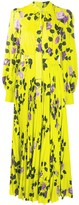 MSGM Tie-Neck Rose-Print Pleated Dress