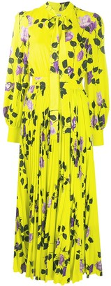 MSGM Tie-Neck Rose-Print Pleated Dress