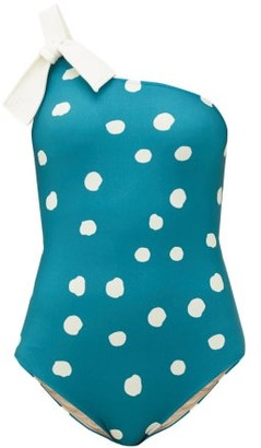 Adriana Degreas Asymmetric Polka-dot Swimsuit - Womens - Blue Print