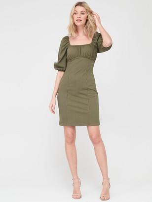 Very Puff Sleeve Jacquard Dress - Khaki