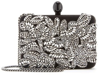 Oscar de la Renta Satin Embroidered Rogan Clutch