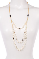 Stephan & Co Filigree Bead Simulated Pearl 3 Row Chain Necklace