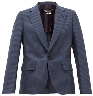 Junya Watanabe Single-breasted Pinstriped Wool Jacket - Womens - Blue Multi