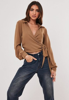 Missguided Tan Tie Side Blouse
