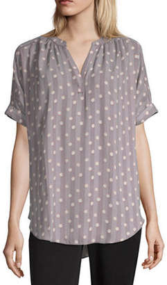 Worthington Womens V Neck Short Sleeve Blouse