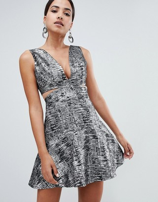 Forever Unique Metallic Cut Out Dress