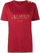 Balmain logo printed T-shirt - women - Cotton - 36