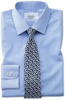 Slim Fit Non-Iron Grid Check Sky Blue Cotton Dress Shirt Single Cuff Size 15/33 by Charles Tyrwhitt
