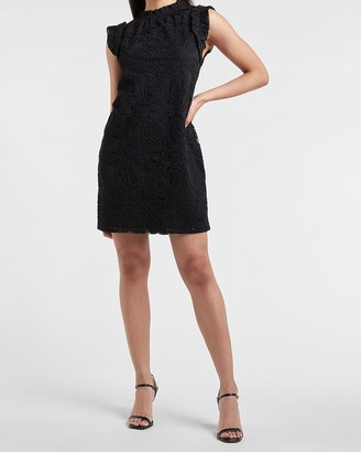 Express Ruffle Mock Neck Lace Shift Dress
