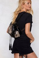 Nasty Gal Womens WANT Button Another Level Embellished Backpack - black - One Size