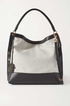 Saint Laurent Tag Leather And Canvas Tote - Gray