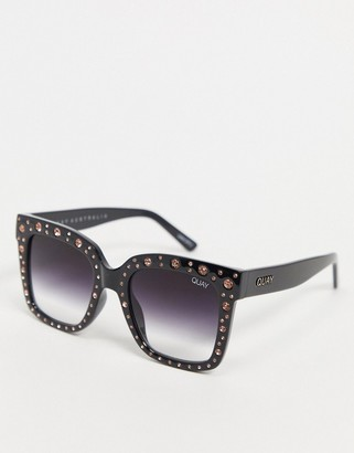 Quay Icy oversized sunglasses in black with studs