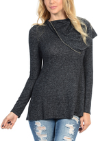 Magic Fit Charcoal Drape Neck Pullover
