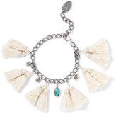 Chan Luu Tasseled silver and turquoise bracelet