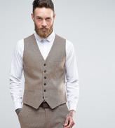 Heart & Dagger Skinny Waistcoat In Herringbone Tweed
