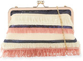 Neiman Marcus Multi-Fringe Sequin Clutch Bag, Pink