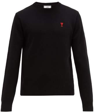 Ami De Coeur Applique Wool Sweater - Mens - Black