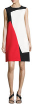 Escada Colorblock Sleeveless Shift Dress, Black