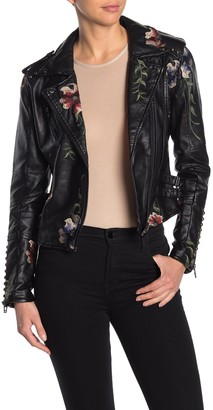 Blanknyc Denim Faux Leather Floral Embroidered Moto Jacket