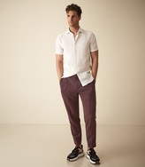 Reiss Morrezmo - Linen Short Sleeved Shirt in White