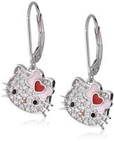 Hello Kitty Sterling Heart Bow Swarovski Crystal Pave Lever Back Earring