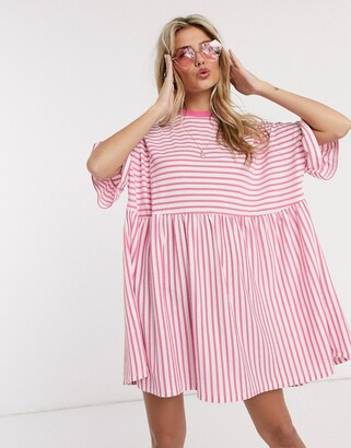 ASOS DESIGN oversized smock t-shirt dress in pink and white stripe