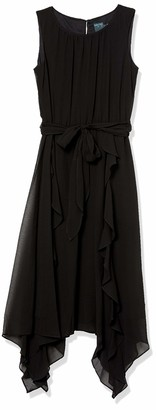 Gabby Skye Women's Sleeveless Solid Black Side Tie Dress 6
