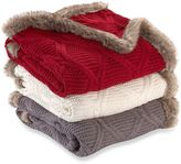 Cozy Faux Fur Trimmed Buffalo Plaid Cable Knit Throw Blanket