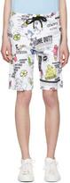 Kenzo White Cartoon Flyer Lounge Shorts